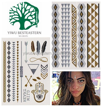 2015 Most Popular Body Temporary Tattoo Sticker, Gold and Silver Temporary Tattoo, Metallic Flash Tattoos