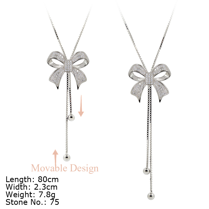 NZA9-002 925 sterling silver jewelry bow-shaped lariat necklaces Manufacturer wholesale price