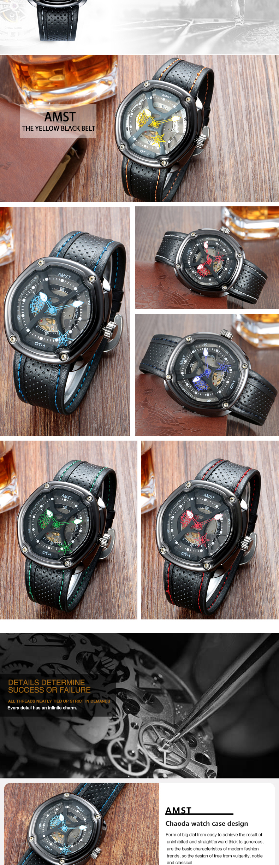 5fe90c9caad Venda Quente! Amst Quartz Sport Watch Pulseira De Relógio De Couro ...