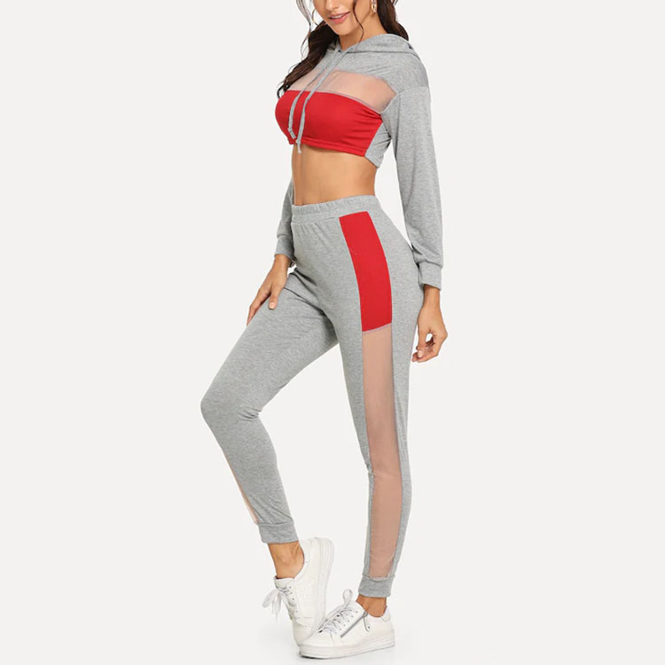 Customized High Quality Sportswear Contrast Mesh Two Piece Set Women Clothing