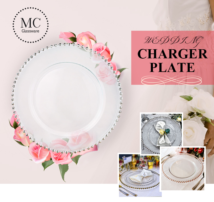 12.6 inches clear wedding groothandel zilveren kralen lader platen