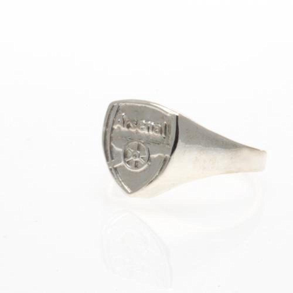 Football Gifts - Arsenal Fc Gift Ideas - Official Arsenal Fc Silver Plated Crest Ring (Small) - A Great Present For Football Fans