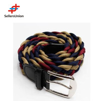 No.1 yiwu commission agent Unique Multicolor Braided Waist fabric Belt for Jeans