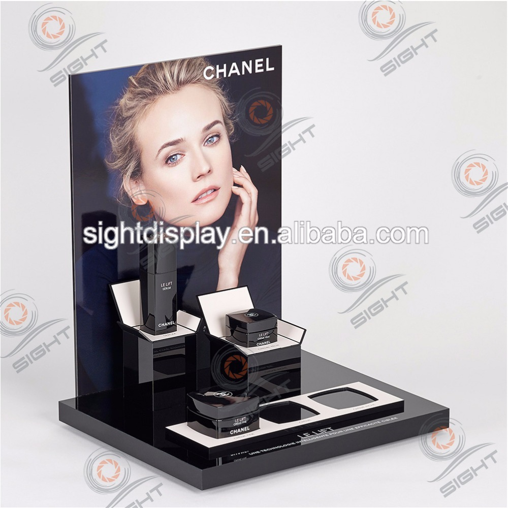 Customer acrylic cosmetic counter stands display table