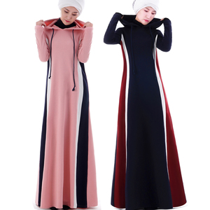 2018 New Design Gym Hoodie Contrast Islamic Sport Abaya Soft Knit wear for girls Casual Striped Maxi Dress Thick