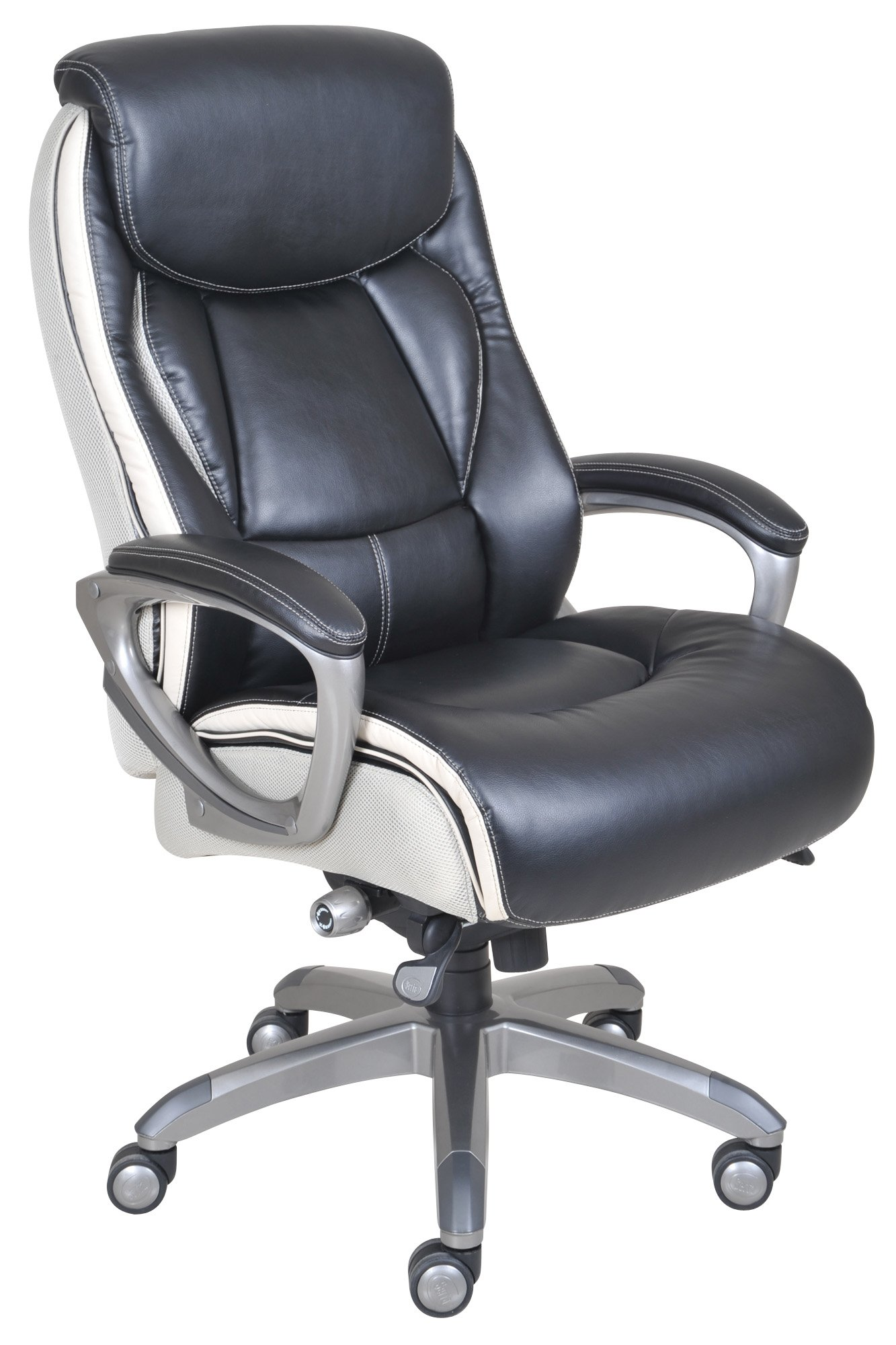 Serta Works Executive Office Chair with Smart Layers Technology, Black Bonded Leather and White Mesh