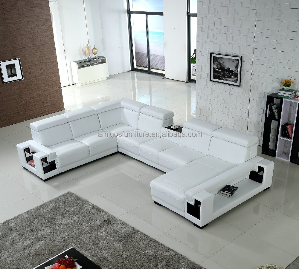 Promotional L-shaped couch, genuine leather couch,modern couch bed