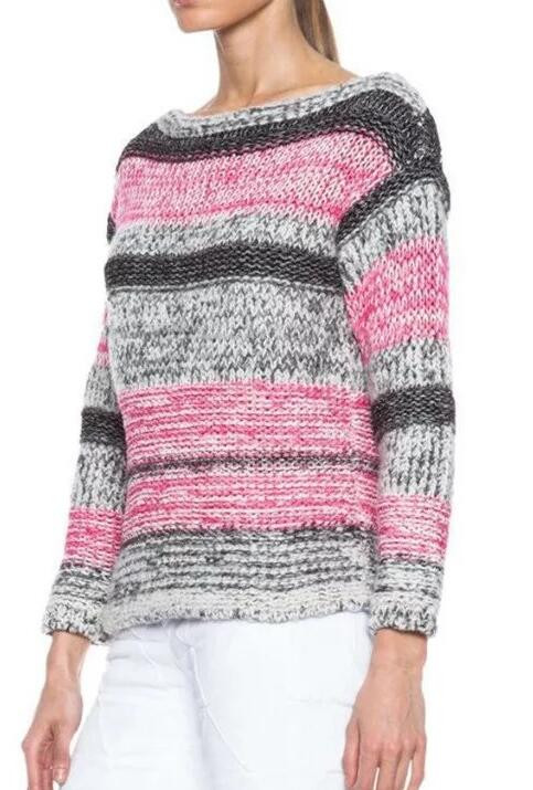 Ey0866s Ladies Grey And Pink Striped Pullover Boat Neck Sweater