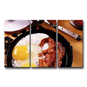 So Crazy Art 3 Panel Wall Art Painting Breakfast Fried Eggs Bacon Yolks Prints On Canvas The Picture Food Pictures Oil For Home Modern Decoration Print Decor