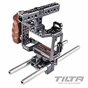 TILTA ES-T27-A Sony Alpha a6000 a6300 a6500 ILCE-6300 ILCE-6500 Camera Lightweight rig Cage 15mm rod release baseplate Top Handle + Wooden Handle (record function) camera Film shooting +cooling fan
