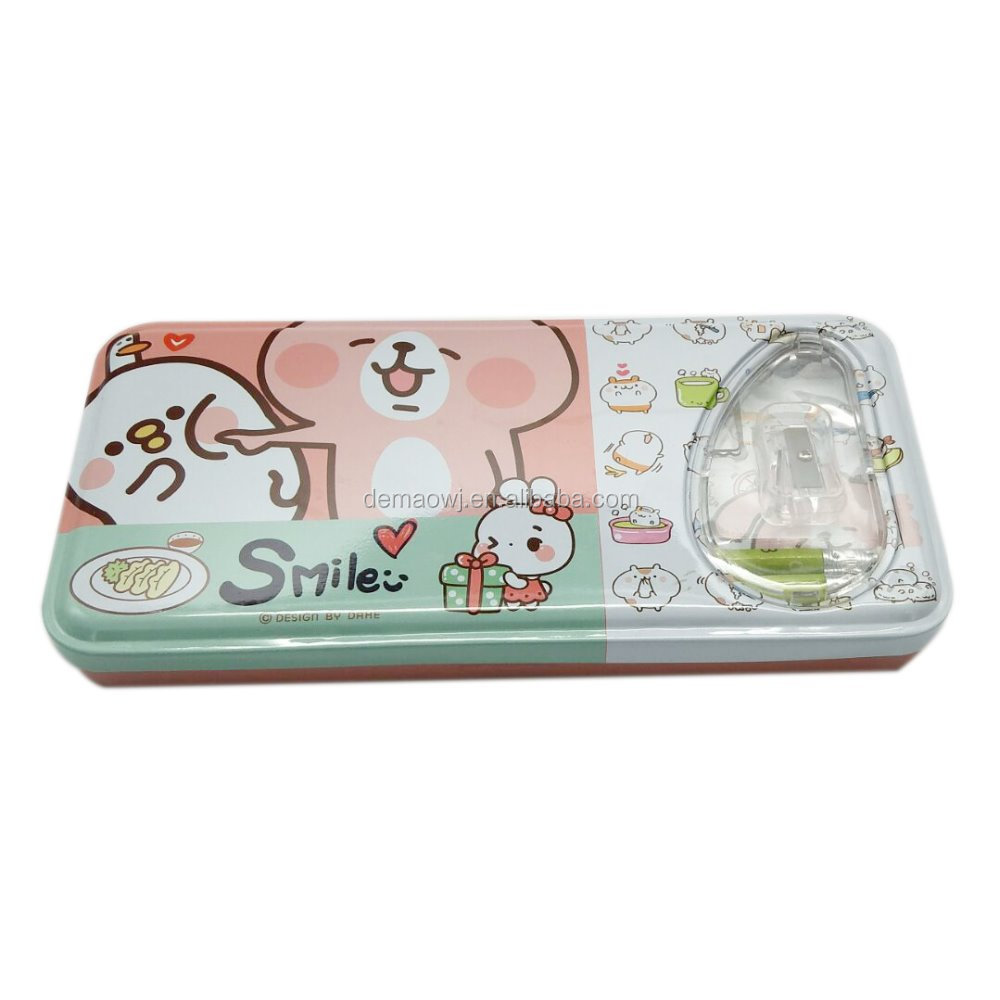 Hot sale schools and offices use tin personalized pencil box with stationery items inside