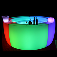 remote control nightclub led mobile bar counter RGB color changing wedding party event outdoor led patio sectional counter bar