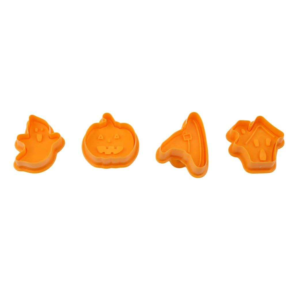 Dolland 4pcs/Set Halloween Theme Cake Embosser Pumpkin Ghost Press Mold Biscuit Stamps Fondant Sugarcraft Cookie Cutter Kitchen Tools Bakeware