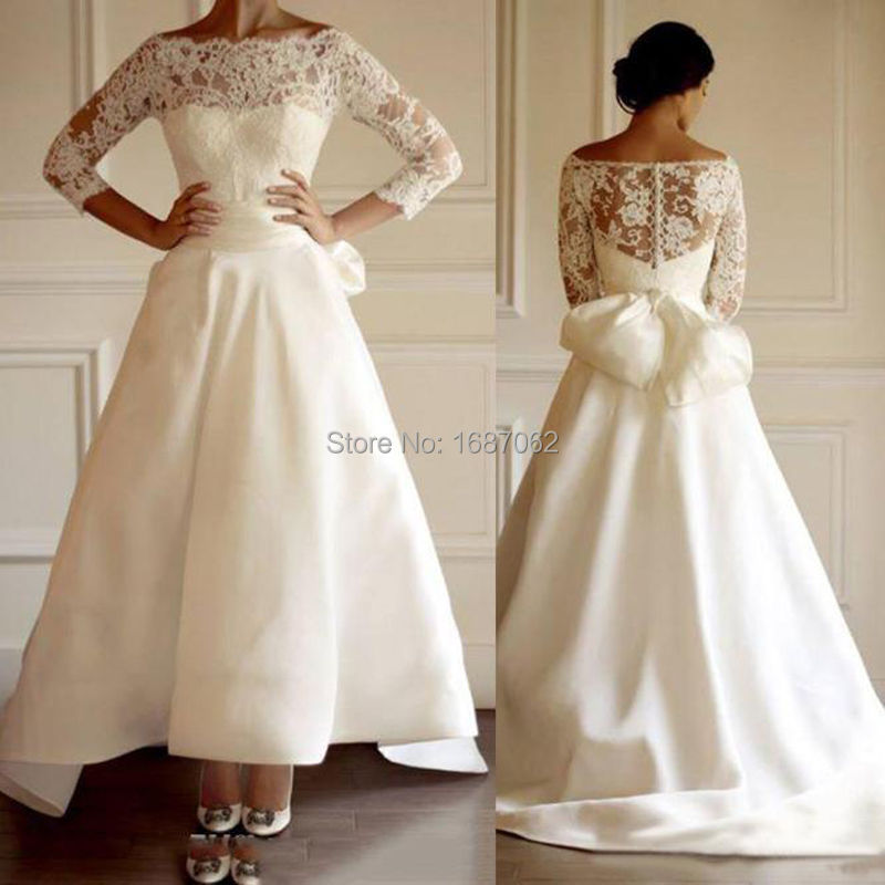 Simple Wedding Dresses Hawaii: Simple Beach Wedding Dresses Bateau Hi Lo Satin Lace Off