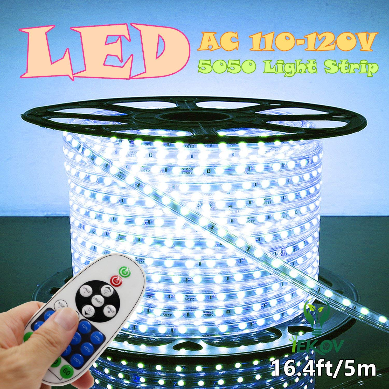 IEKOV trade; AC 110-120V Flexible LED Strip Lights, 60 LEDs/M, 4000K(Daylight White), Waterproof 5050 SMD LED Rope Light for Home Decoration (16.4ft/5m,Natural White)