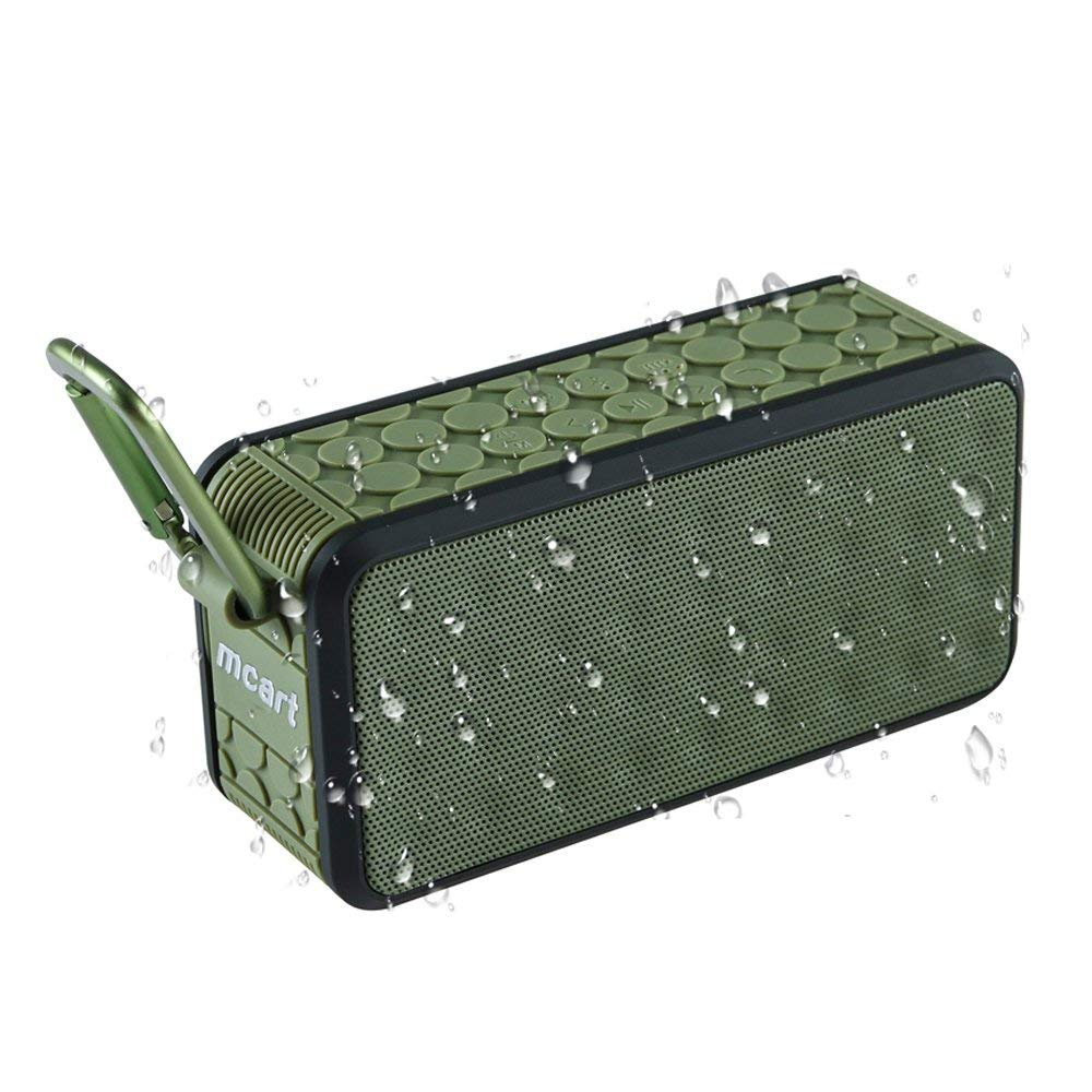 Waterproof Bluetooth Speaker - MCART Portable Wireless Mini Speker With IPX6 Waterproof, Outdoor Sport Stereo Bluetooth Speakers,Hi-Fi Speaker,Built in Mic,2x5W Bass Sound-Green