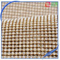 2014 Grade A wholesale gold rhinestone fabric