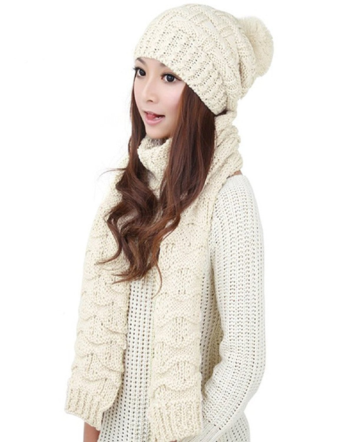 4a53709dc01 Get Quotations · TCCSTAR Women Girls Knitted Hat Scarf Set - Valentine s  Day Gifts Fashion Winter Warm Hat with