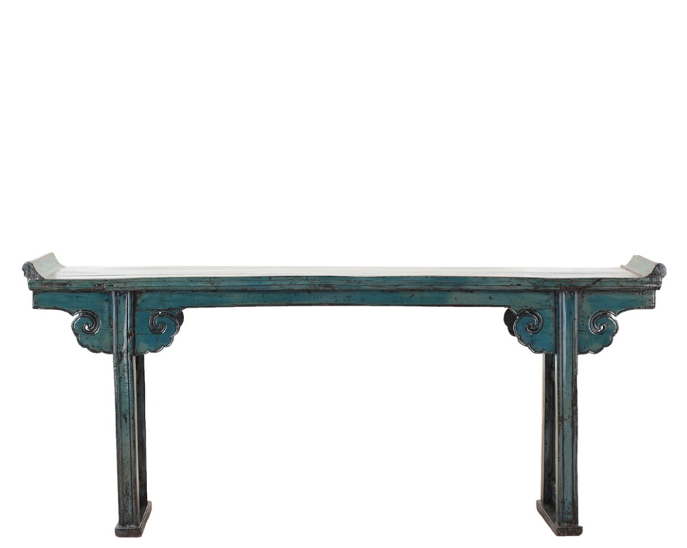 Chinese vintage furniture distressed console in dark blue