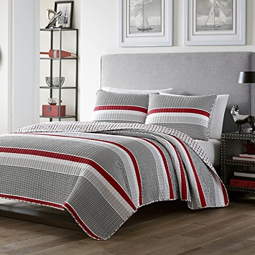 3 piece Boys Full Queen Red Grey White Rugby Stripes Quilt Set, Striped Horizontal Lines Nautical Pattern, Stripes Coverlet Bedding with Rugby Themed Design with Gray, Beautiful Colors! Anchors