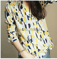 2015 Fashion Blusas Femininas Geometry Hit Color Printed Women Blouses V Neck Long Sleeve Shirt Women