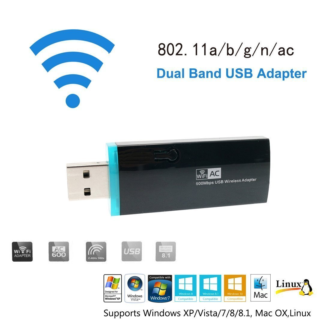 Urant AC600 USB Wifi Adapter USB Dongle Wireless Range Extender Amplifier Signal Booster Dual Band Network Mini Router AP High Speed With WPS Support Win10 Vista XP MAC OS Linux(433+150Mbps)