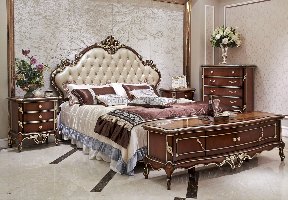 Captivating Italian Style Solid Wood Bedroom Furniture Set, Antique Wooden Bed Room Set