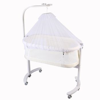 Wood Baby Cradle Crib Bassinet Bed with Everything Needed for a Sound Sleep
