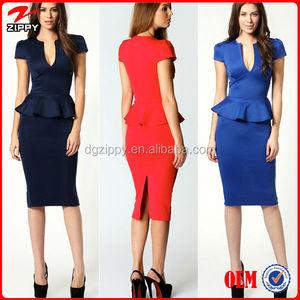 1f865d8ffa0f9 2016 Ladies latest slit neck peplum office dress for women office dress