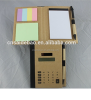 Factory Direct Sale High Quality Kraft Paper Note book With Solar Calculator&Notepad&Memo Pad&Pen