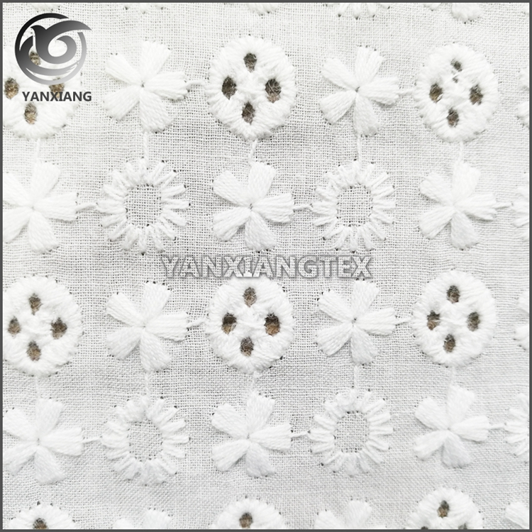 Broderie Anglaise cotton eyelet lace Fabric White