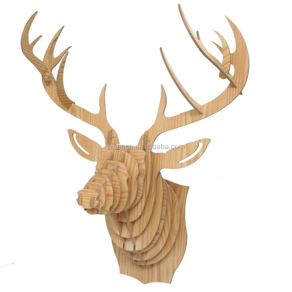 Natuurlijke hout wandmontage rendier hoofd voor wanddecoratie ...