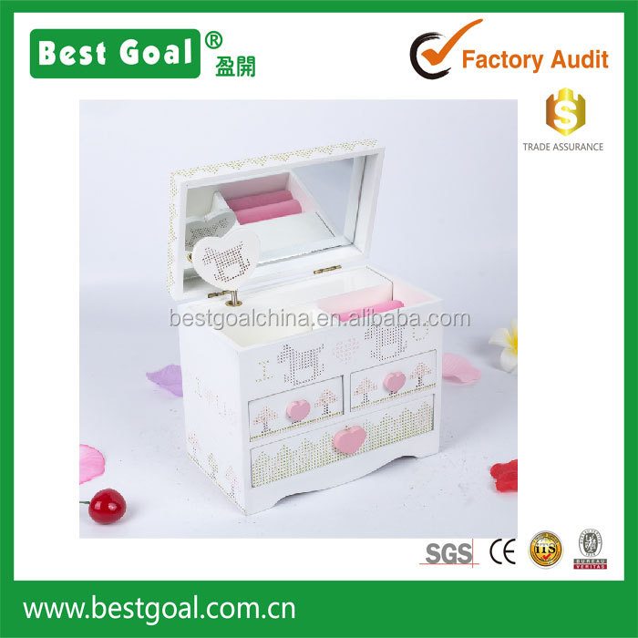3 drawers wood music jewelry box with mirror
