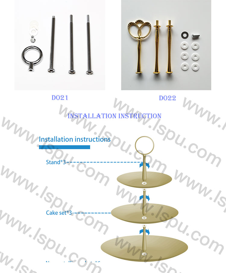 Metal 3 Tier  Cake Stand Handle Cake Plate Stand Centre Handle Fittings - Fruit Heavy Plate Handle Fittings Round Hardware Rod