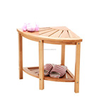 Bamboo Corner Shower Bench with Shelf