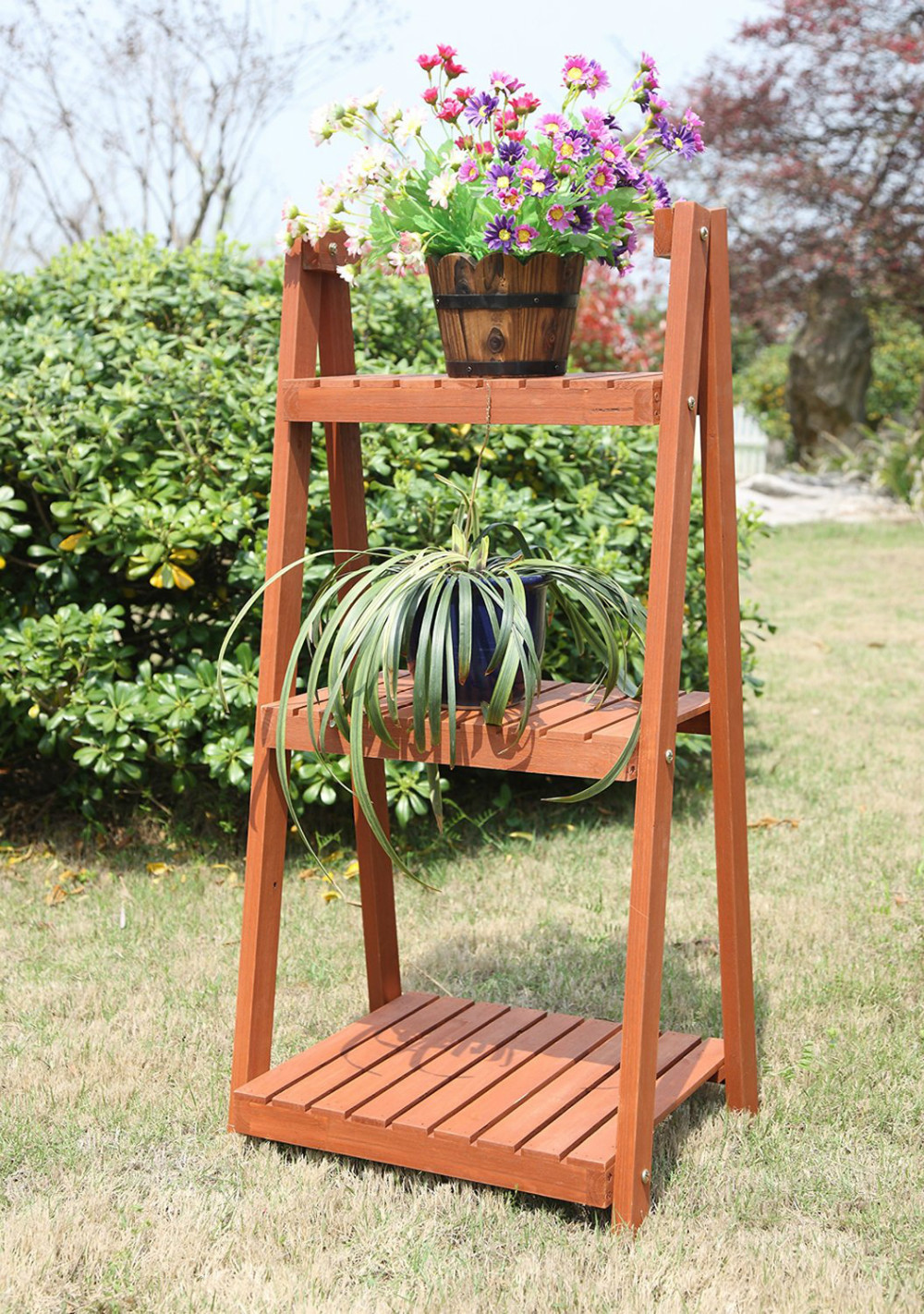 Home and garden outdoor wood ladder 3 tire plant stand buy plant stand 3 tier plant stand - Tier plant stand outdoor ...