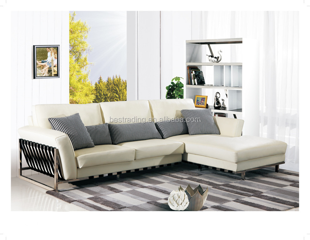 White Leather Sofa Stainless Steel Metal Legs Set Designs Modern L Shape