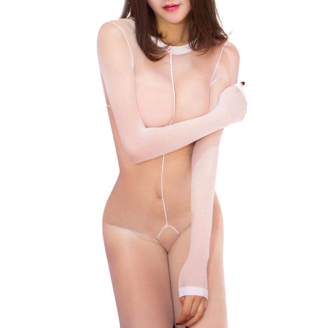 c1ee7545ac Get Quotations · Makaor Women Erotic Long Sleeve Lingerie Bodystocking  Seamless Sheer Crotchless Body Tights (White