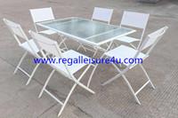 7pcs patio promotion RLF-00012T-8 garden set steel rectangle foldable table&chair