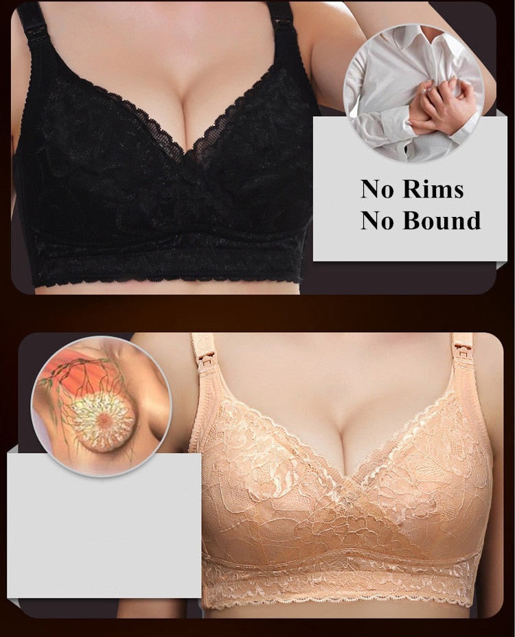 European Plus Size 100% Cotton Wireless Push Up Chest Pregnant Bra Double Nursing Buckles Maternity Bra BCDEFG Cup