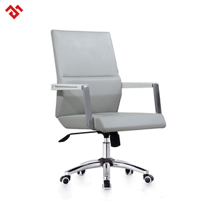 Mid back leather office chair, luxury leather staff office chair