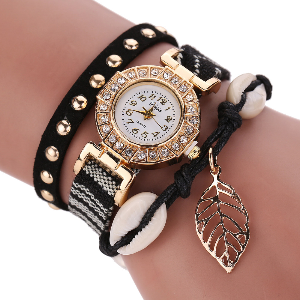 Charm Bracelet Watches: Fashion Jewelry Leather Bracelet Watch Womens Stainless