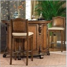Powell Furniture Bourbon Street Yorktown Cherry Home Bar Cabinet Set