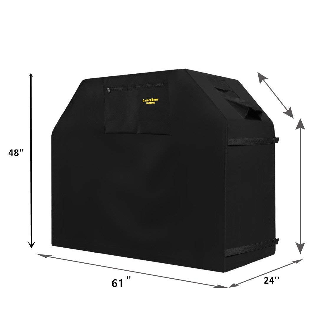 """Felicite Home Grill Cover Up to 61"""" Wide, Water Resistant, Air Vents, Padded Handles, Elastic hem cord - Heavy Duty burner gas BBQ grill Cover, Black"""