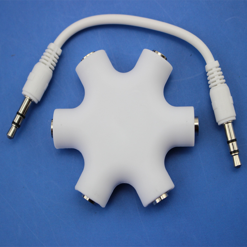 High quality 5 way Multi Headphone Splitter, 3.5mm audio cable earphone splitter adapter wifi audio adapter