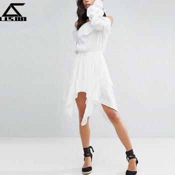2018 Long Sleeves Design Cold Shoulder White Semi Formal Dress Buy