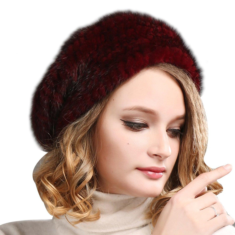 0a3e35c1621e1 Get Quotations · FURTALK Ladies 100% Natural Mink Beret Hat women winter  fur hats mink fur beret for