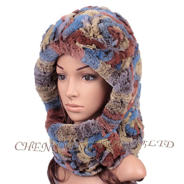 Cx-c-193c Rex Rabbit Fur Hat Knitted Pattern Ladies Fashion Knitting ...