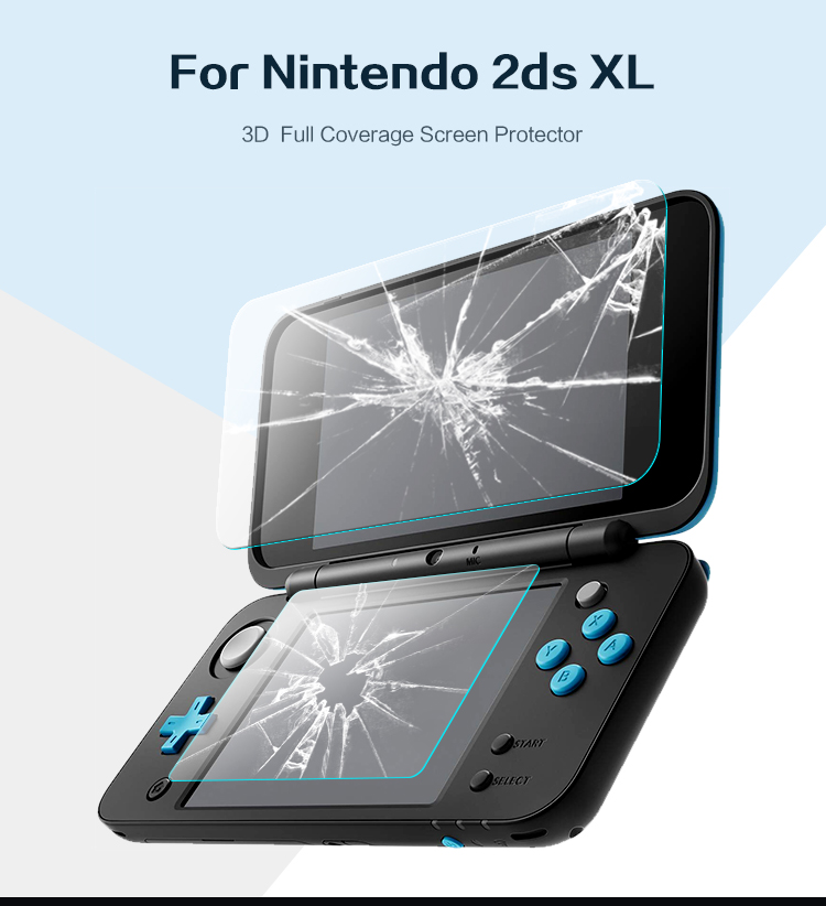 DATA FROG Tempered Glass Screen Protector For Nintend New 2DS XL/LL Premium Full Cover Screen Protector Film
