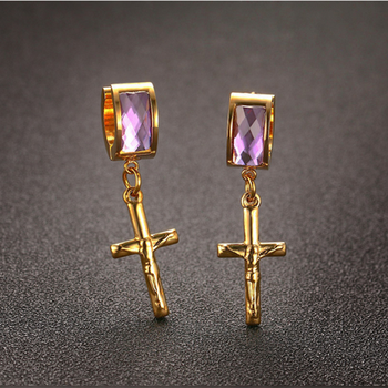 Fashion Hanging Cross Earrings For Men Single Stone Earring Designs